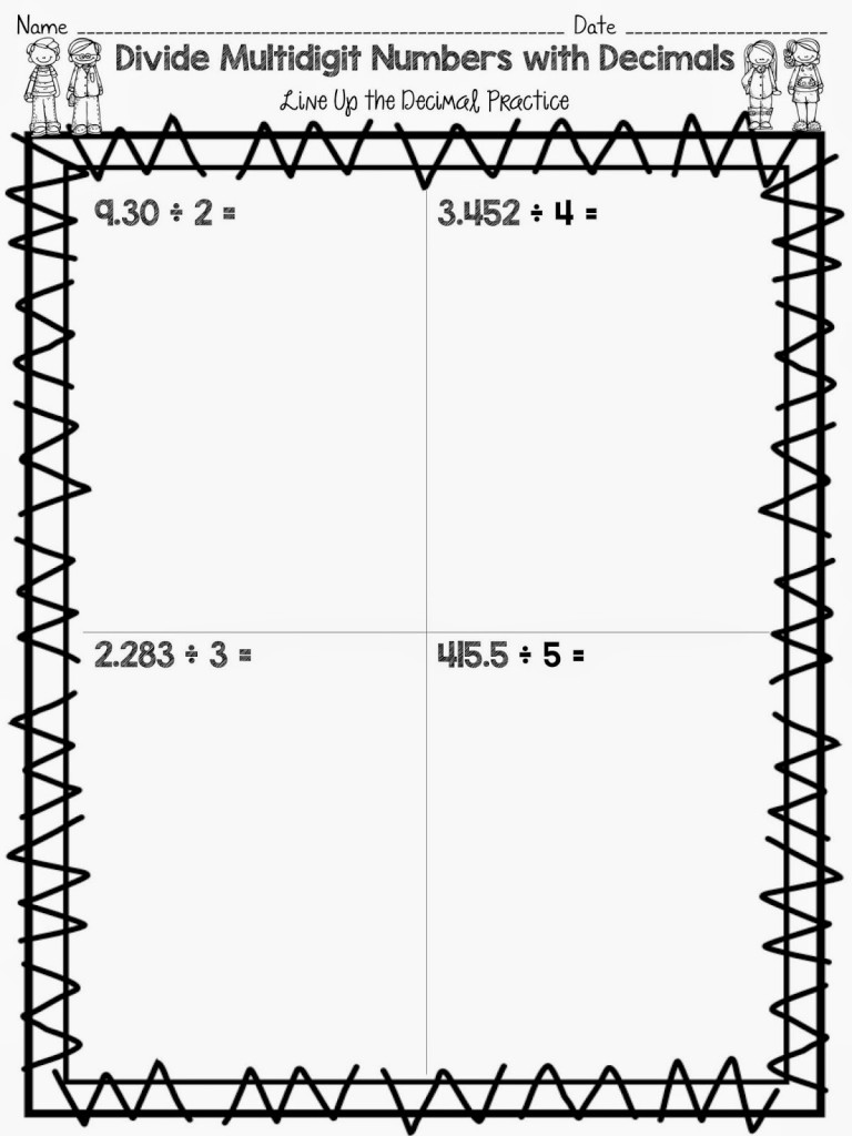 Division With Decimals Worksheets 5th Grade column multiplication – Dividing by Decimals Worksheets