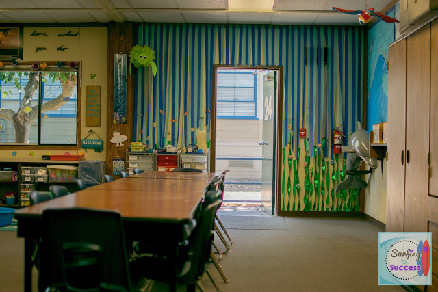 Ocean Theme Classroom: Use streamers to create water and kelp
