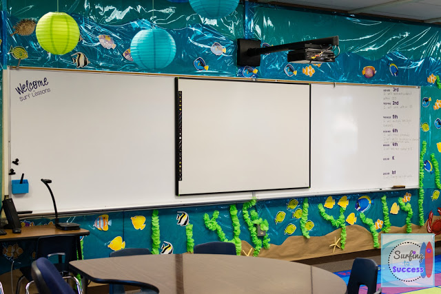 Ocean Themed Classroom: The white board is surrounded by an ocean scene.