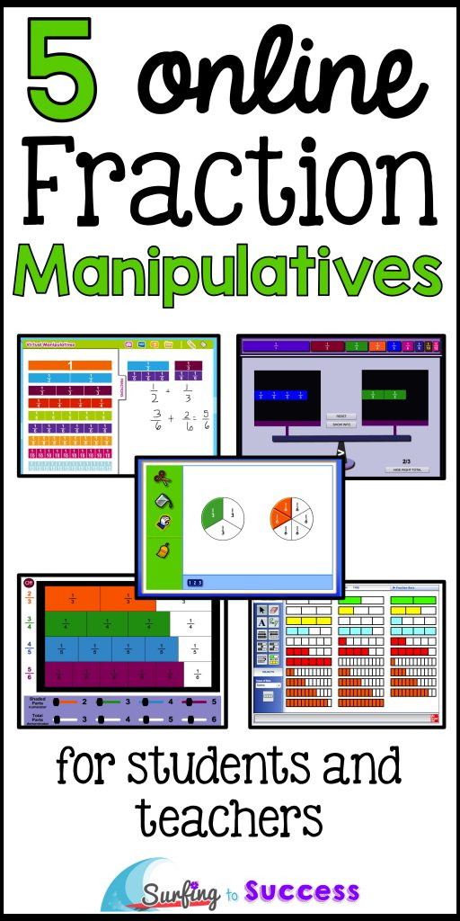 Fraction manipulatives make fractions concrete. You can display these 5 online fraction manipulatives on a smart board during lessons. Students can also use these on chromebooks, iPads and laptops.